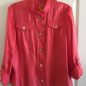 Ruby Rd. Short Jacket in Shimmery Coral.